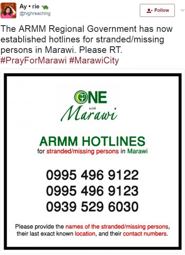 ARMM Marawi hotlines