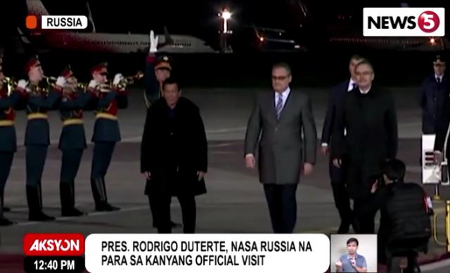Rodrigo Duterte arrival Russia