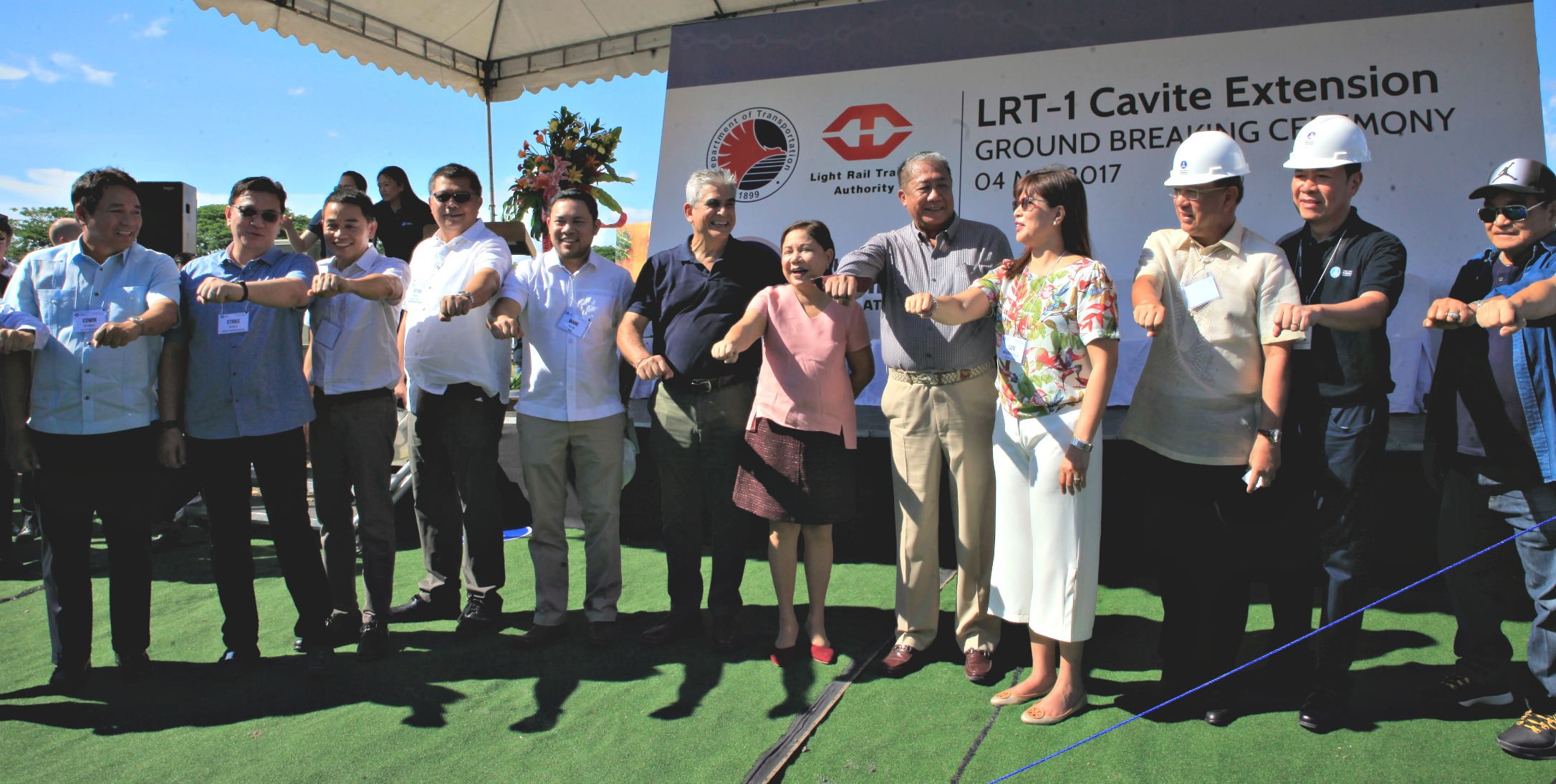 File photo of the groundbreaking last May for the LRT-1 Cavite Extension project. The P24-B loan financing for the project as well as for the rehabilitation ...