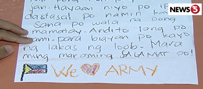 Culiat Elem pupil msg to soldiers in Marawi