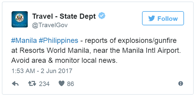 US State advisory Resorts World Manila