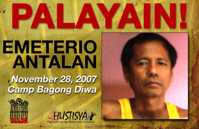 Emeterio Antalan freed political prisoner