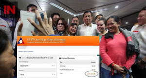OFWs with Duterte, inset iDOLE OFW card transaction