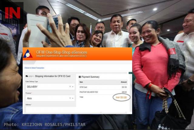 OFWs with Duterte, inset iDOLE OFW card transaction