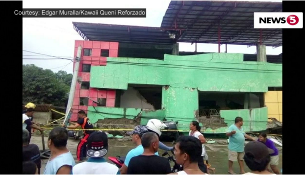 Philippine quake knocks down building, kills 2, injures 100