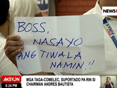 Comelec staff support Bautista
