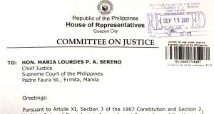 House justice committee letter to Sereno