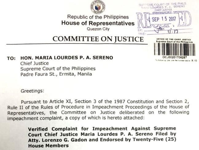 Duterte can not prosecute Chief Justice: Sereno camp