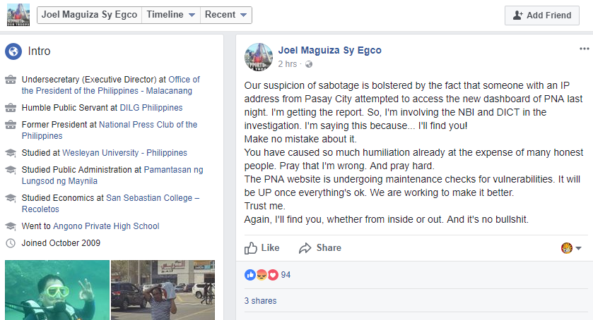 Joel Egco FB post