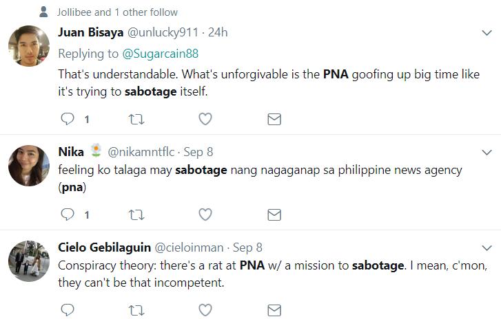 PNA sabotage Twitter posts