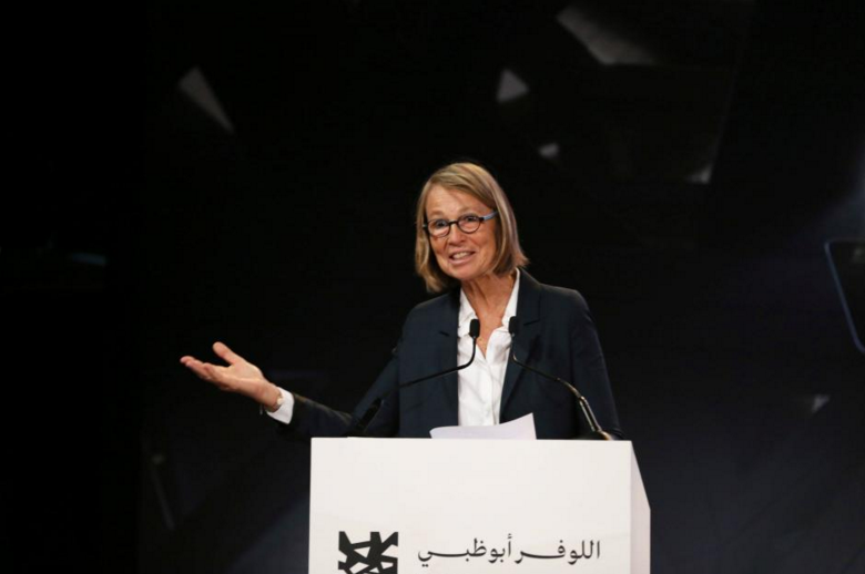 Francoise Nyssen, French Minister of Culture, gestures during a news conference announcing the opening date of Louvre Abu Dhabi in Abu Dhabi, United Arab Emirates September 6, 2017. REUTERS/Stringer