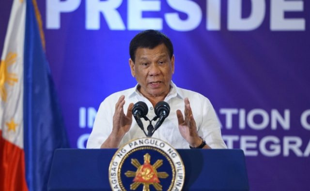 Rodrigo Duterte speaking emphatically
