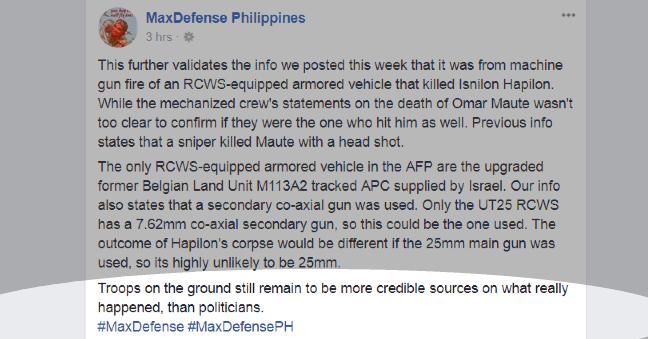 Max Defense PH Facebook post
