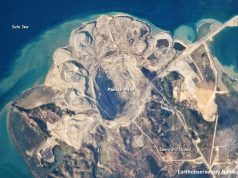 Open pit mining satellite snapshot