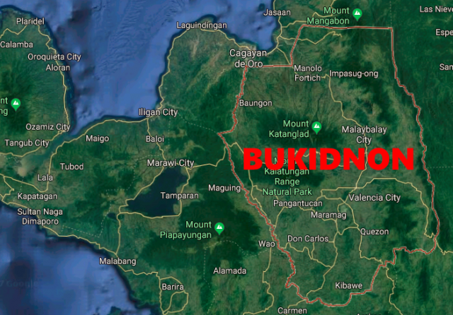 Map of Bukidnon Province.