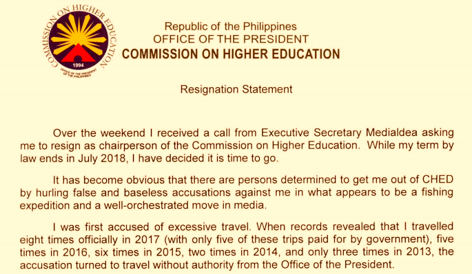 CHED chair Patricia Licuanan leaves post