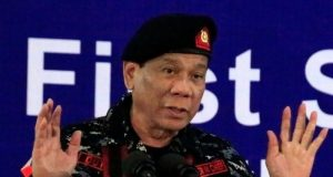 Duterte in military garb