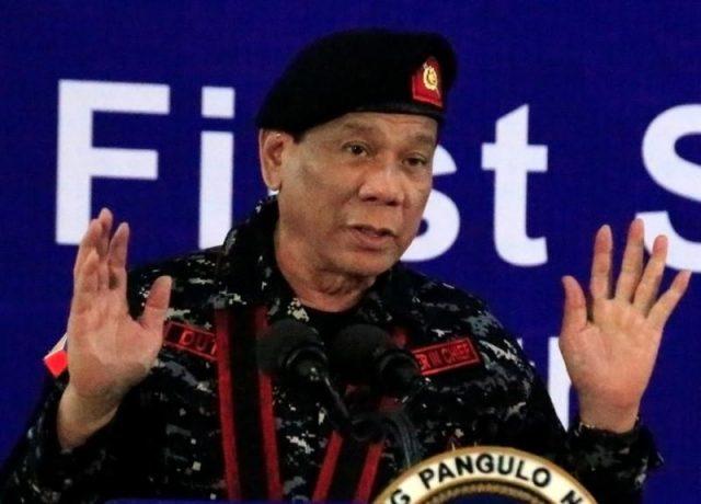 Duterte in military garb