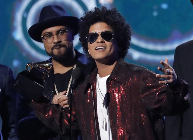Bruno Mars wins six Grammys, dashes rappers' hopes