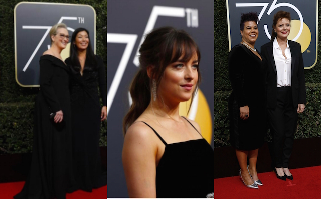 stars say �time�s up� wearing black on the golden globes