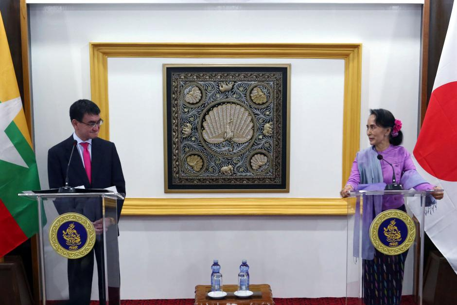 Myanmar's leader Aung San Suu Kyi and Japanese Foreign Minister Taro Kono hold a news conference in Naypyidaw