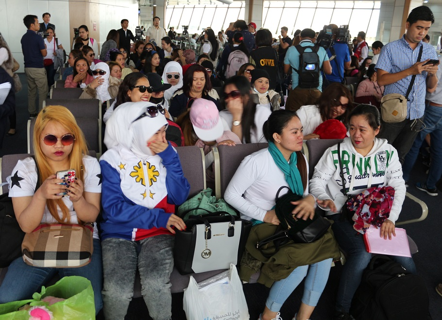 Workers repatriated from Kuwait on their arrival