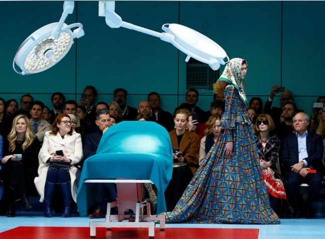 923b06a313c A model presents a creation from the Gucci Autumn Winter 2018 women  collection during Milan Fashion Week in Milan