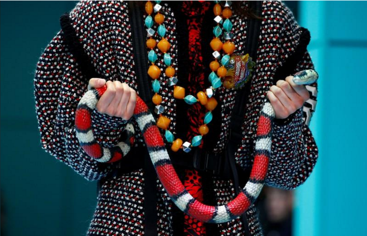 b6eff03d3 A model presents a creation from the Gucci Autumn/Winter 2018 women collection  during Milan Fashion Week in Milan, Italy February 21, 2018.
