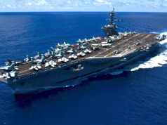 The Carl Vinson sailing at sea. US Navy photograph