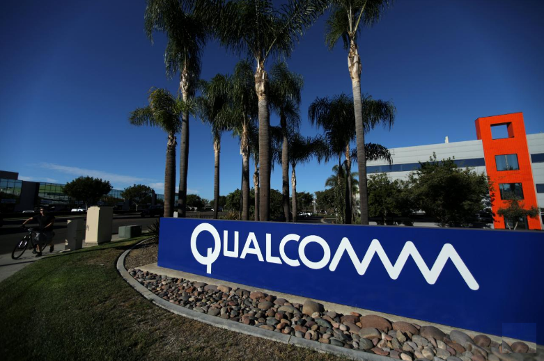 A sign on the Qualcomm campus is seen in San Diego California