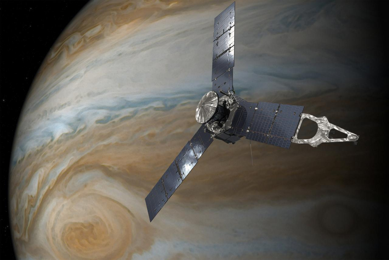 An illustration depicting the U.S. space agency's Juno spacecraft in orbit above Jupiter's Great Red Spot