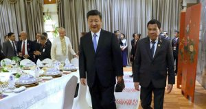 Leaders Xi Jinping and Rodrigo Duterte in China on April 10, 2018