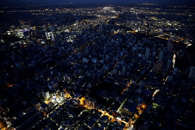 An aerial view shows central Sapporo city during blackout after an earthquake hit the area in Sapporo