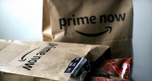 Illustration photo of an Amazon Prime Now delivery bags