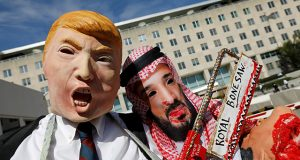 Activists protest the disappearance of Saudi journalist Jamal Khashoggi during demonstration outside U.S. State Department in Washington