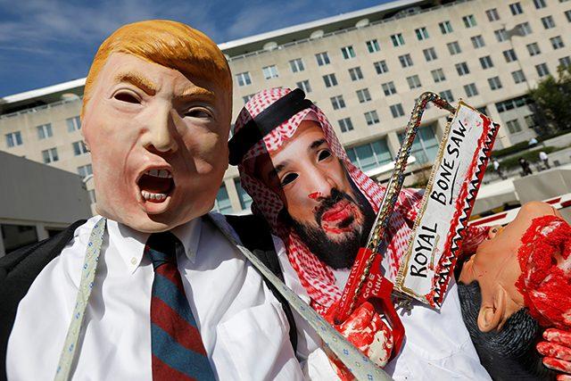 Activists protest the disappearance of Saudi journalist Jamal Khashoggi during demonstration outside U.S. State Department in Washington