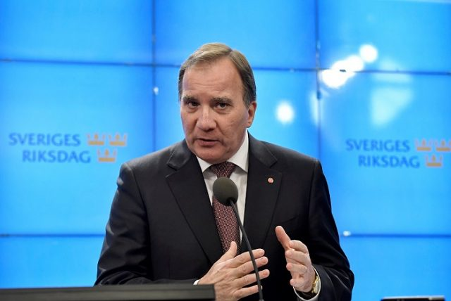 Swedish Prime Minister and Social Democratic party leader Stefan Lofven speaks a news conference after he was asked by the Speaker of the parliament to form a government in Stockholm