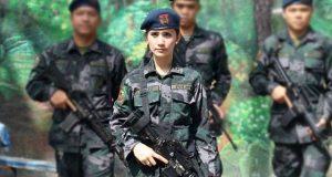 Sofia Deliu in combat uniform