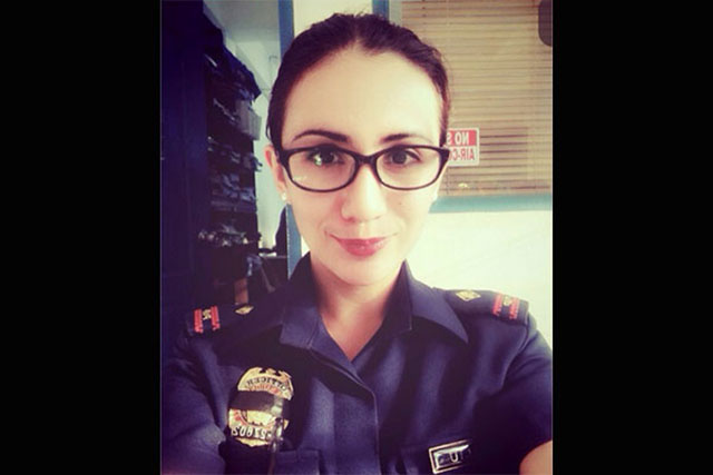Sofia Deliu in her police officer uniform