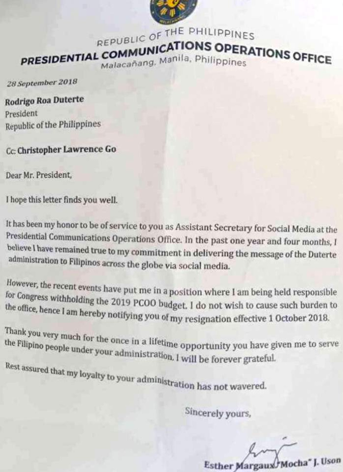 Full text of Mocha Uson's resignation letter - Interaksyon