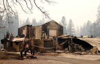 A building destroyed by the Camp Fire