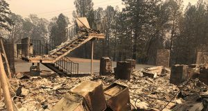 Residential house affected in wildfire