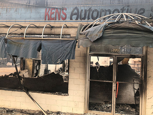 Ken's Automotive Service repair shop lies in ruins after wildfires devastated the area in Paradise
