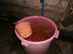 Tabo with a pail