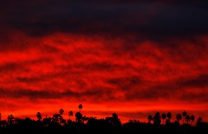 Morning sun rises in Santa Ana, California