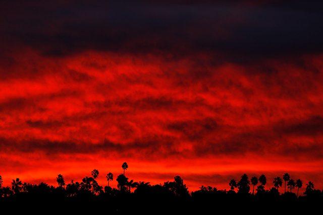 Morning sun rises in Santa Ana, California