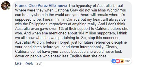 Comment on PGAG post of Catriona Gray