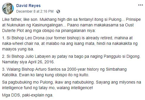 Father David Reyes' Facebook post