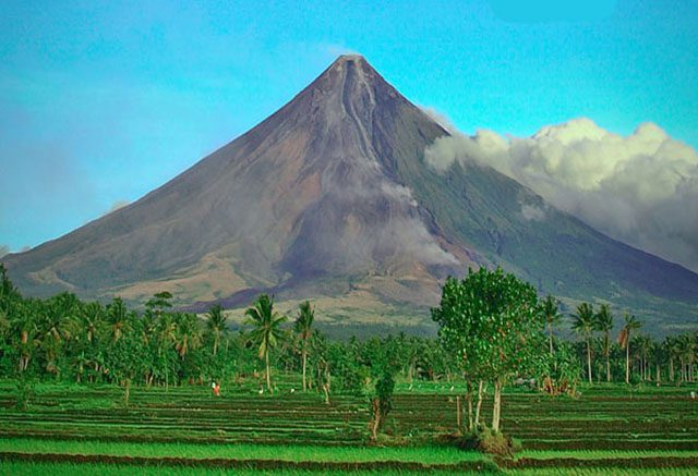 Mayon Volcano in still form