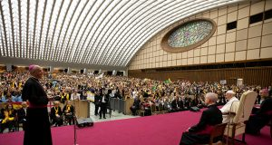 Pope Francis attends the international meeting of choirs in the Vatican